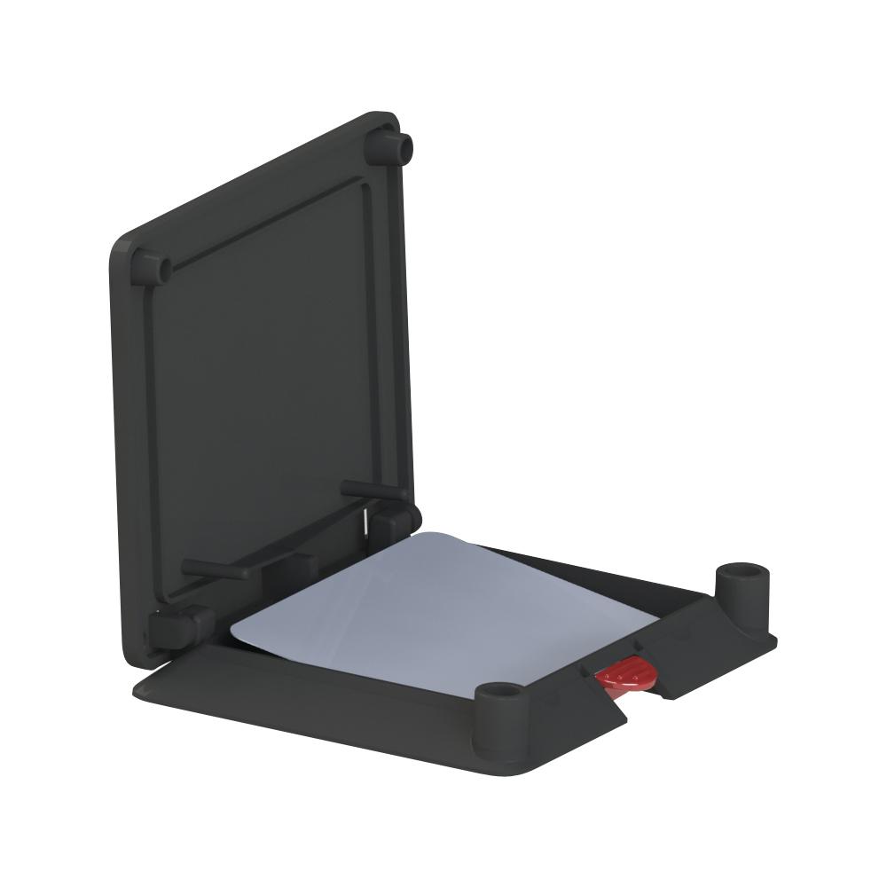 Monitoringdoboz, fekete (kiemelő szerkezettel)